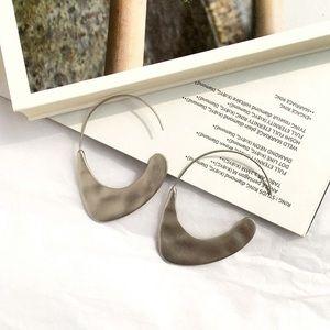 Hammered Silver Open Hoop Earrings